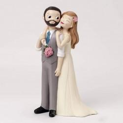 Figura pastel novio chaleco y barba