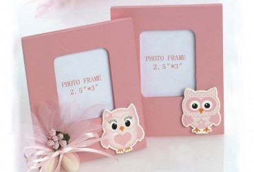 Portafotos rosa madera búhos