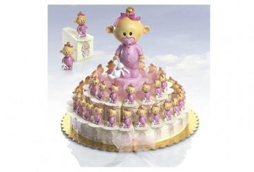 Tarta 23 cajitas bebé niño chupete rosa