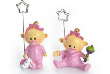 Sujeta targeta bebé niña chupete rosa