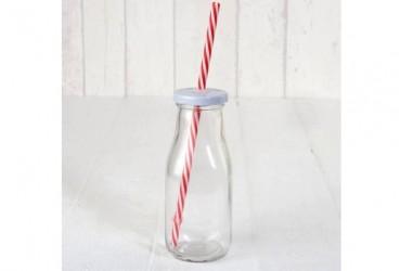 Botellita cristal tapa blanca con caña