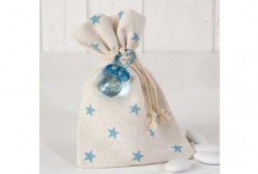 Bolsa algodón estrellas rosas chupete